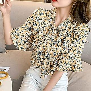 Yezefennhfnsdx Short Sleeve Tops Women Women's Summer Blouse Floral Bowknot Chiffon Shirt Loose Plus Size Short-sleeved Bl...