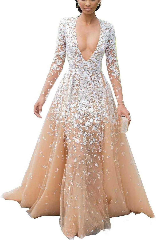 Mordarli Women's Long Seeve Deep V Neck Lace Applique Tulle Evening Dress
