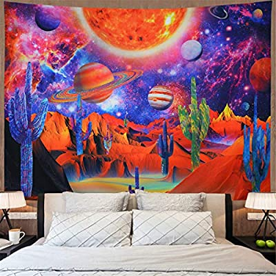 Amonercvita Psychedelic Galaxy Space Tapestry Trippy Cactus Tapestry Mysterious Planets Tapestry Hippie Starry Mountain Tapestry Desert Landscape Tapestry Wall Hanging for Bedroom H51×W59