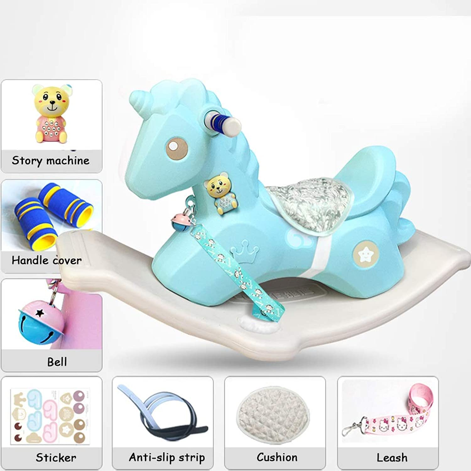 Friendship Shop- Baby Plastic Rocking Chair, Thickened Large Rocking Horse - Many (color   bluee, Size   B)