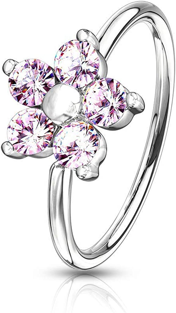 Covet Jewelry CZ Flower Top Bendable Nose Hoop Rings