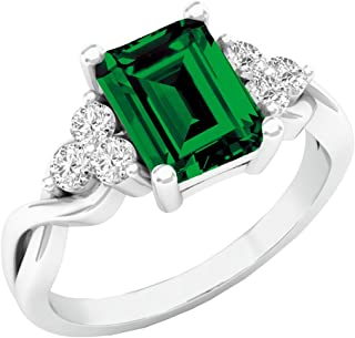 Dazzlingrock Collection 8X6 MM Emerald Cut Lab Created Gemstone & Round Sapphire Ladies Engagement Ring, Sterling Silver