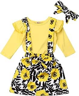 Newborn Baby Girl Skirt Set Floral Ruffle Long Sleeve Romper Top+Bowknot Skirts Overalls Dress Outfits 3PCS