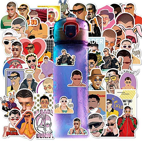 ZXXC 50Pcs/Rock Singer Bad Bunny Stickers For Laptop LuggageBicycle Phone Case Skateboard Pad Waterproof Kids Decal