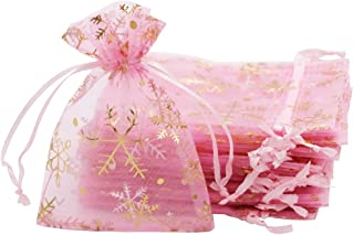 pink and gold snowflakes