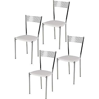 Tommychairs Set 4 sedie moderne e di design ELEGANCE per cucina bar salotti e sala da pranzo, con robusta struttura in acciaio cromato e seduta