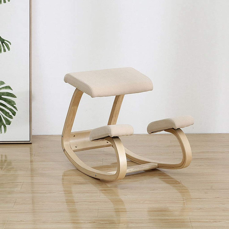 DLT Hlzerner kniender Stuhl für den Schreibtisch, Balance-Kniehocker, der Rücken, Nacken- und Schulter-Spannung entlastet, Birke-Rahmen, kniender Stuhl Schaukel-Haltungs-hlzerner Schemel für Büro
