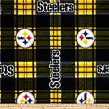 Fabric Traditions NFL Pittsburgh Steelers Plaid Fleece Black/Yellow Fabric By The Yard
