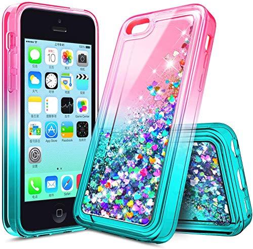 E-Began Case for iPhone 4s, iPhone 4, Glitter Flowing Liquid Floating Gradient Quicksand, Shockproof Durable, Girls Women Cute Soft TPU Phone Case -Pink/Aqua