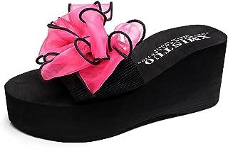 U-MAC Wedge Slide Sandal for Womens Fashion Lace Bowknot Bohemian Platform Summer Beach Slip