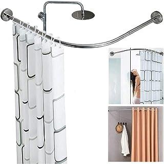 Curved Shower Curtain Rail Bar L Shape No Drilling Extendable Bathroom Bathtub Bath Corner Curtain Rod Adjustable Stainles...