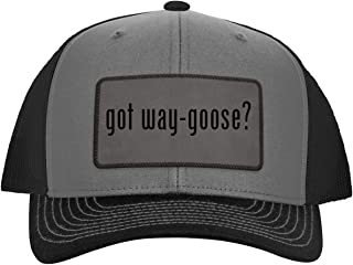 got Way-Goose? - Leather Grey Patch Engraved Trucker Hat