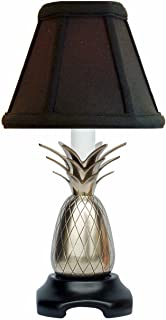 Table Lamps - Savannah Pineapple Accent LAMP - Pewter Finish - Black Shade - 11