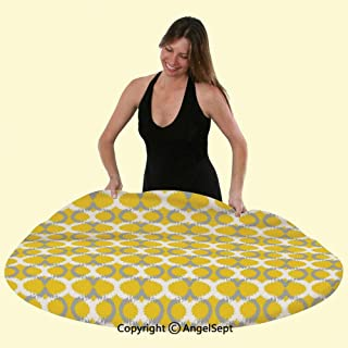 Polyester Round Fitted Table Cover Elasticized Tablecloth Oval and Double Mesh Ikat Motifs Modern Retro Camouflage Style Lines Home Great for Indoor Outdoor Dining Playing Cards,Grey Yellow White
