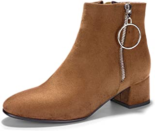 IDIFU Women's Bonnie-Ring Metal Ring Round Toe Ankle Booties Low Block Heel Faux Suede Short Boots with Zipper