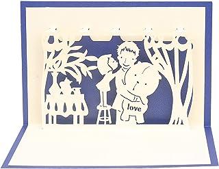 New Years Card بطاقات المعايدة 3d اليدوية ابنة تقبيل الأب نعمة بطاقات المعايدة عيد الأب بابا عيد الشكر هدية 10PCS Chrismas...