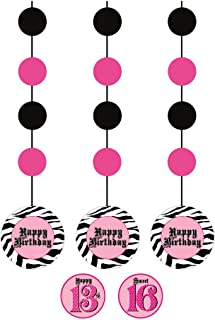 Creative Converting Super Stylish Happy Birthday 3 Count Hanging Cutouts Party Decoration with Stickers
