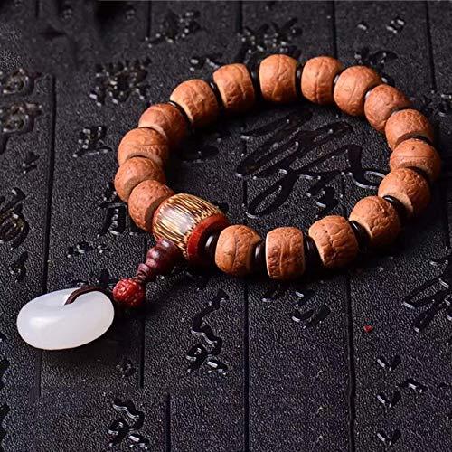 JONJUMP Nepal Eyebrows Bodhi Bracelets Bodhi Buddha Bead White Safety Button Prayer Wood Mala Lucky for Women Men Hand String