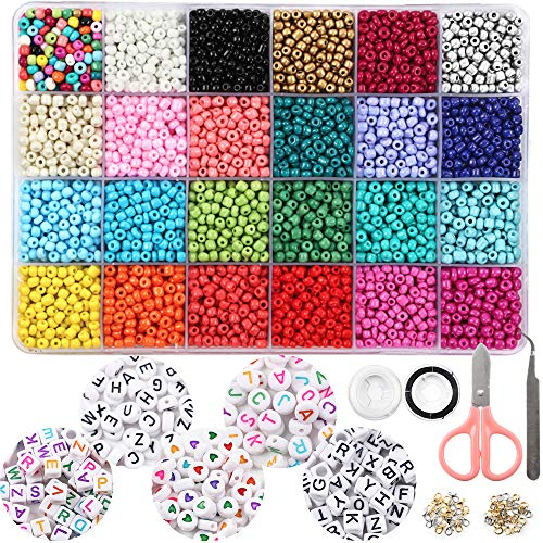 OUTUXED 7200pcs 4mm Glass Seed Beads and 300pcs Alphabet Letter Beads for Bracelets Jewelry Making and Crafts with Elastic String Cords, Tweezers and Accessories DIY Material