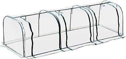 Serre de Jardin Tunnel Serre à tomates 3,5L x 1l x 0,8H m 3 Portes zippées bâche PVC Transparent métal époxy Vert