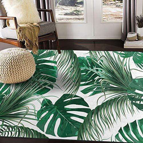 ALAZA Tropical Palm Tree Leaves Jungle Leaf Green Area Rug Rugs for Living Room Bedroom 7' x 5'