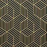 """17.7""""×197"""" Gold and Black Wallpaper Geometric Hexagon Stripe Wallpaper Peel and Stick Wallpaper Self-Adhesive Contact Paper for Wall Covering Decorative Countertop Drawer Vinyl Film Roll"""