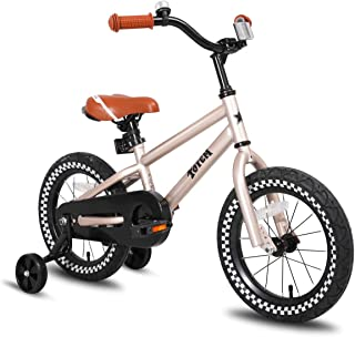 JOYSTAR Kids Bike with Training Wheels for Girls & Boys, 12 14 16 Inch (Red Orange Blue Silver)