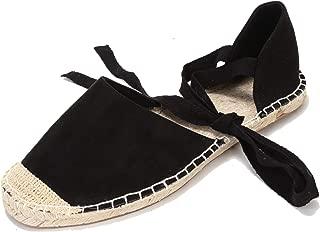 U-lite Women's Suede Cap-Toe Tie-up Ankle Strap Espadrille Flat Sandals