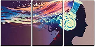 wall26 - 3 Piece Canvas Wall Art - Woman with Magic Glowing Headphones on Dark Background,Illustration Painting - Modern Home Decor Stretched and Framed Ready to Hang - 24