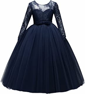 Kids Flower Tulle Lace Dress for Girl Party Fall Wedding Dance Evening Princess Long Sleeves Ball Maxi Gowns