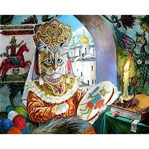 Pintura diamante bricolaje 5D diamante completo diamante redondo gato de dibujos animados 45x40cm kit de punto de cruz-bordado de cristal-manualidades de decoración del hogar