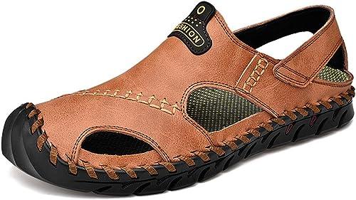 YU Sandales en cuir pour hommes hommes Semelles en caoutchouc antidérapantes Chaussures de plage Chaussures de pêcheur en plein air  populaire