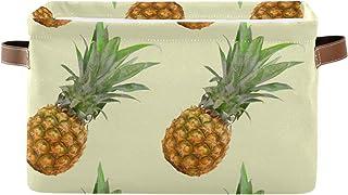 F17 Panier de rangement pliable en toile avec poignée Motif ananas tropicaux