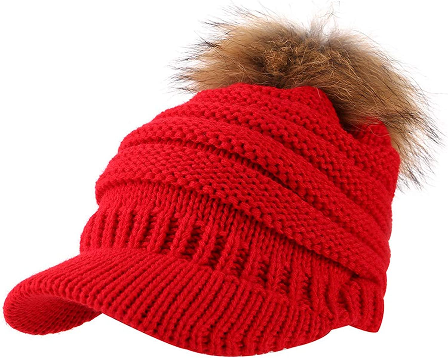 Hairball Knitted Baseball Cap, Women Adjustable Casual Fashion Caps Winter Cotton Outdoor Thermal Hat (5658cm),Red
