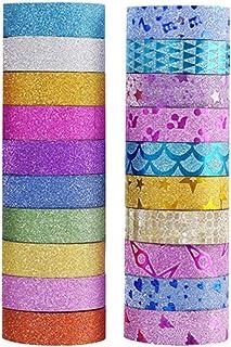 Milisten Lot de 20 rouleaux de ruban adhésif Washi à paillettes de couleur métallique pour loisirs créatifs, scrapbooking,...