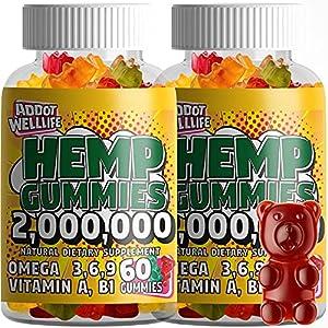 Hemp Gummies - Natural High Potency Vitamin Gummies by ADDOT WellLife - Vegan Hemp Oil Infused Gummy - (2 Bottles 120 Gummies, 20X)