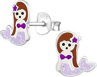 ICYROSE Hypoallergenic Sterling Silver Glitter Mermaid Stud Earrings for Little Girls (Nickel Free) (Glitter Purple)