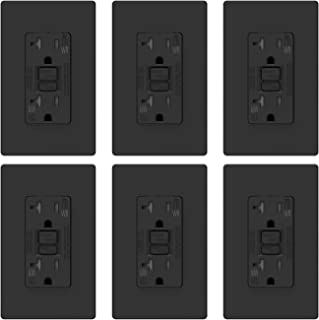 ELEGRP 20 Amp GFCI Outlet, 5-20R GFI Dual Receptacle, TR Tamper Resistant and WR Weather Resistant, Self-Test Ground Fault Circuit Interrupters, Wall Plate Included, UL Listed (6 Pack, Black)