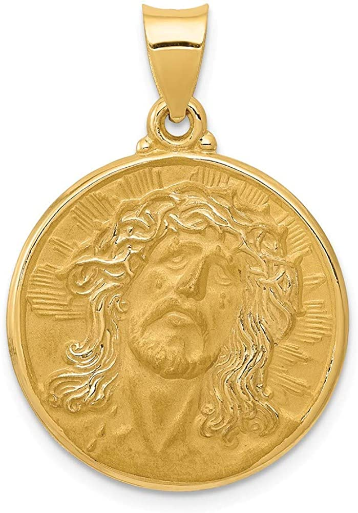 14k Yellow Gold Face Of Jesus Medal Pendant Charm Necklace Religious Fine Jewelry For Women Gifts For Her