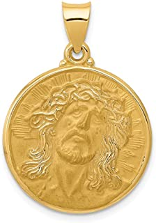 14k Yellow Gold Face Of Jesus Medal Pendant Charm Necklace Religious Fine Jewelry Gifts For Women For Her