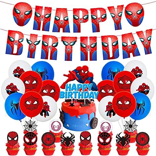 44PCS Décoration Ballon Super Héros Anniversaire, Spiderman Party Balloons,Ballons Anniversaire Hero,Décorations de Fête pour la Fête D'anniversaire des Enfants