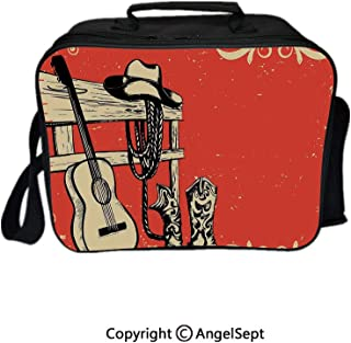 Multifunctional Lunch Bags for Women Wide Open,Image of Wild West Elements with Country Music Guitar and Cowboy Boots Retro Art Decorative Beige Orange 8.3inch,Lunch Box With Double Deck Cooler Tote