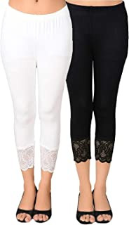 SNOWBALL Designer Lace Capri Leggings For Women | Stylish Net Capris for Girls