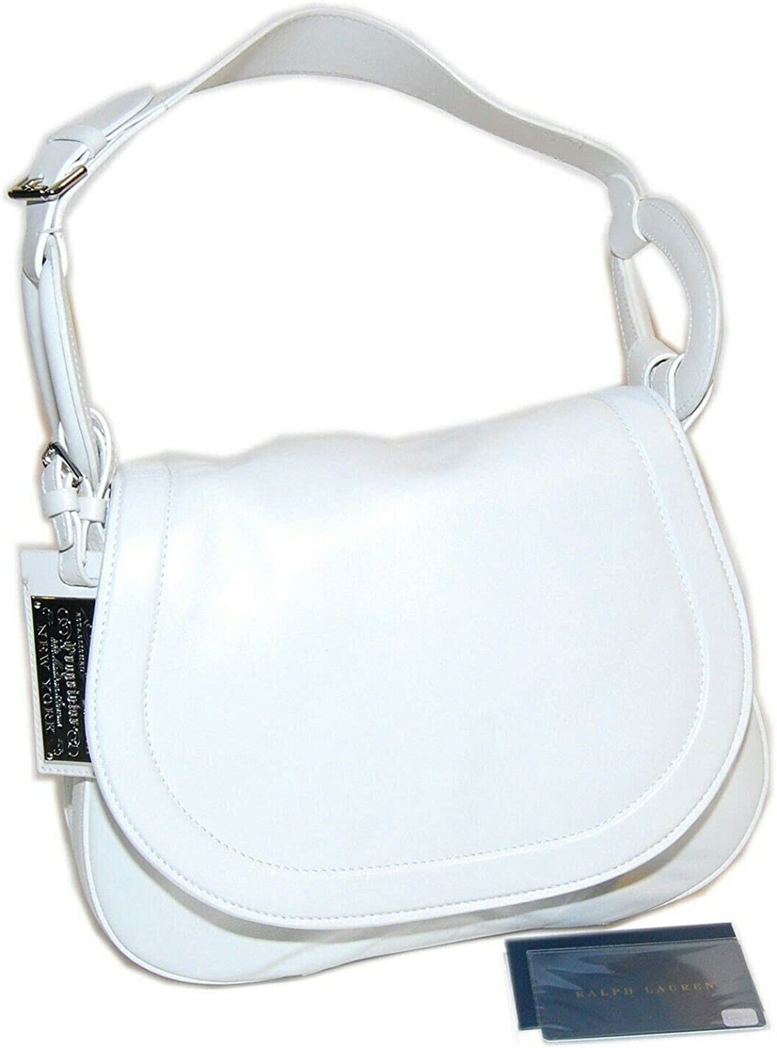 Ralph Lauren Collection Equestrian Womens Leather Handbag Purse Tote Italy White $1,500