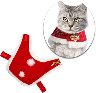 Pet Christmas Cloak Costume with Bells Soft Thick Fabric Pet Clothes Apparel Outfit Dress-up for Puppy Kitten Small Cats D...