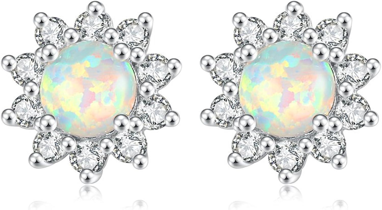 CiNily Created White Pink Green bluee Fire Opal Zircon Silver for Women Jewelry Gemstone Stud Earrings 12mm