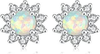 Flower Opal Earrings Stud,Gold Plated Hypoallergenic Earrings for Women Opal Jewelry Gemstone Stud Earrings 12mm-15mm