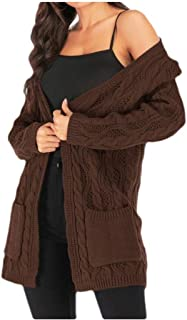 Howely Women's Mid-Long Baggy Style Oversized Cable Knit Knitted Shirt Cardi