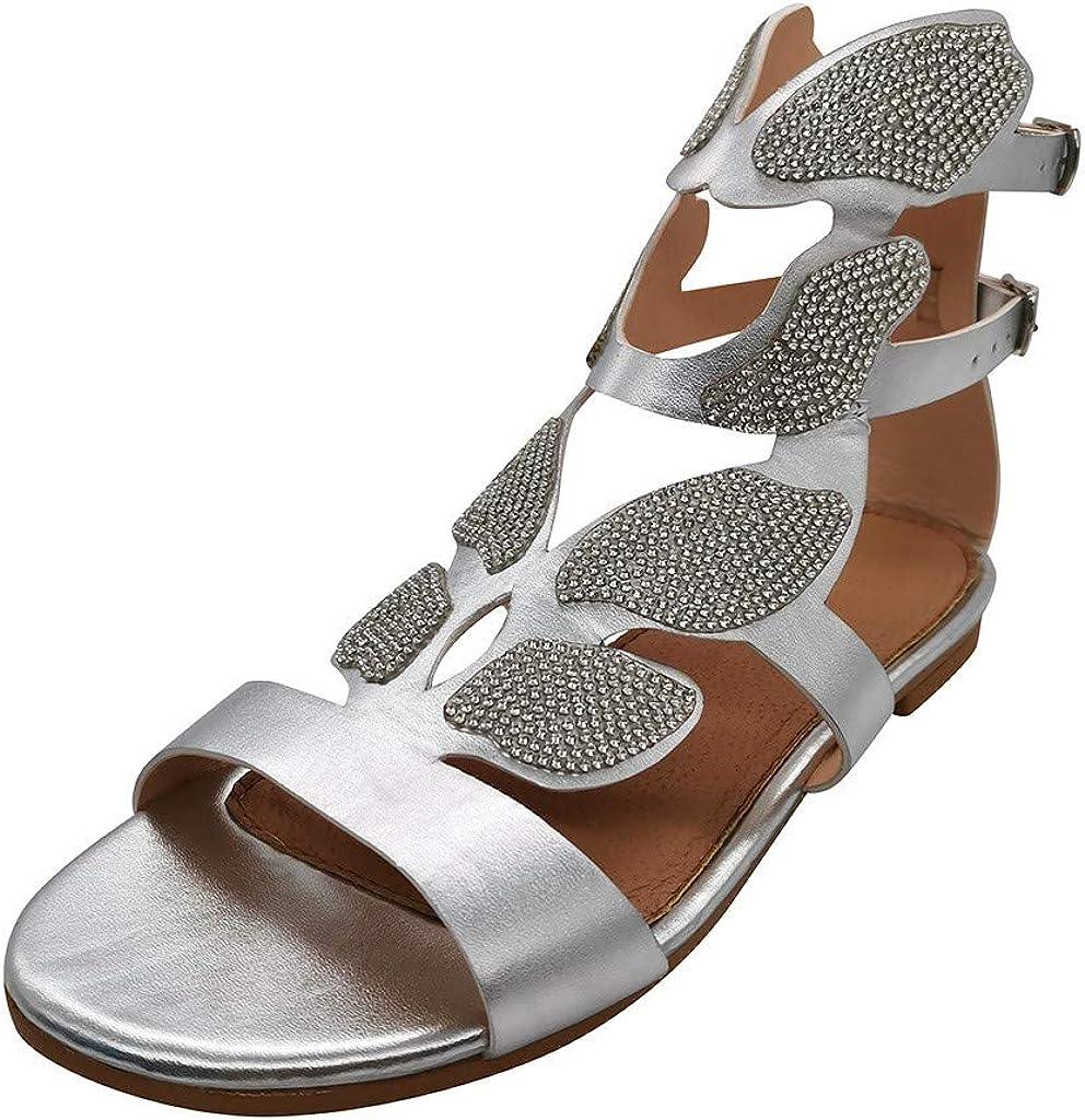 Women's Rhinestone Flat Sandals,Women's Open Toe Strappy Gladiator Roman Rhinestone Butterfly-Shape Covered Leaf Flame Wings Comfort Ankle Flat Sandal Shoes