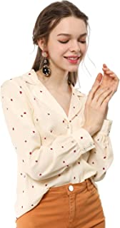 Women's Button Up Notched Lapel V Neck Long Sleeves Heart Polka Dots Shirt Tops with Pocket